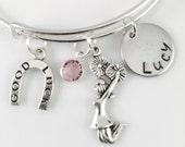 Personalized Cheer Bracelet, Cheerleader Charm bracelet, Game Day Bracelet, College cheer charm, High School Cheer or Poms Charm Bracelet