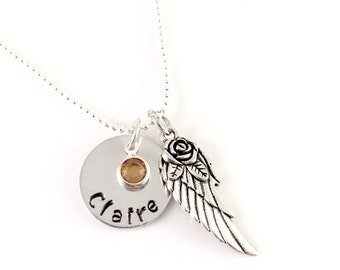 Memory angel wing necklace, memorial necklace, Personalized Angel Wing Necklace, Sympathy Gift, Silver Angel Wing Necklace