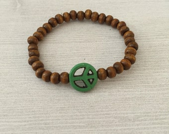 Wood Peace Sign Bracelet