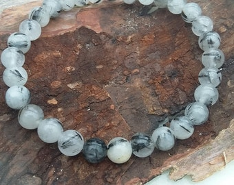 Tourmalinated Quartz~ 6mm Beads~ Stretch Bracelet