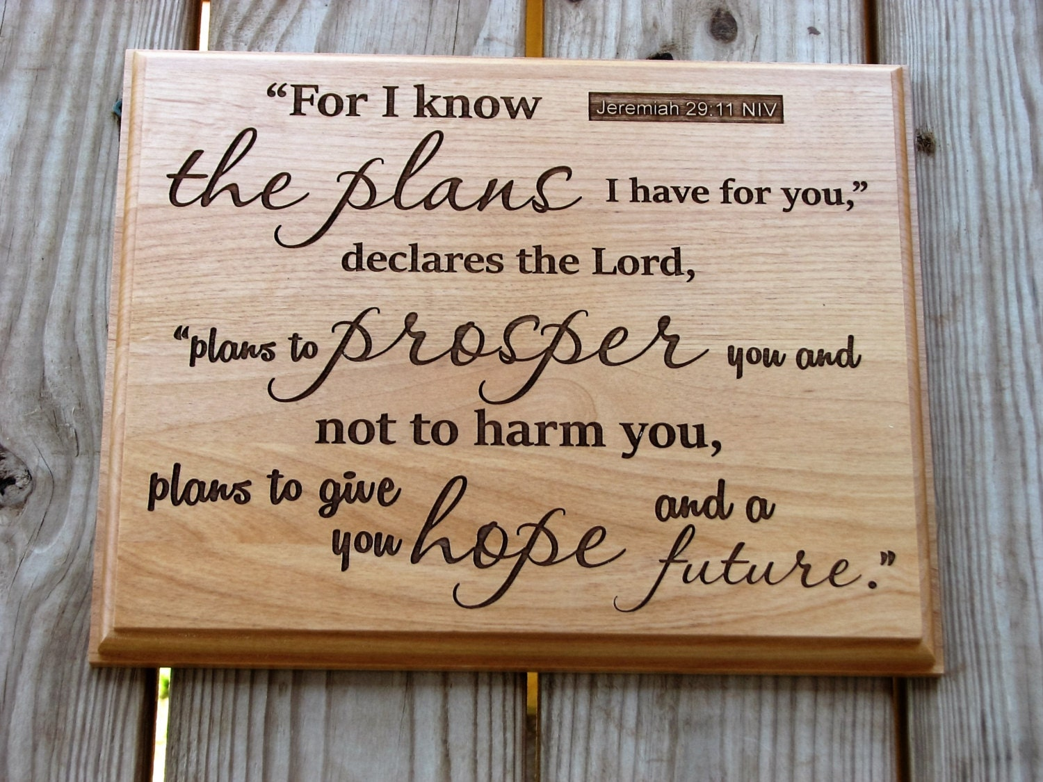 Laser Engraved Wood Plaque With Scripture Bible Verse Art