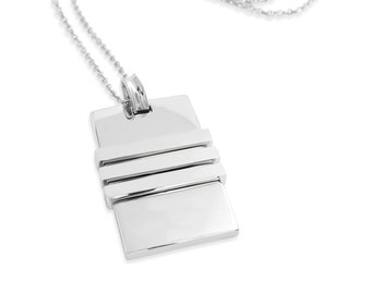Silver Rectangle Necklace Pendant - Silver Necklace Pendant -  Silver Geometric Pendant - Silver Pendant - Geometric Jewelry Charm