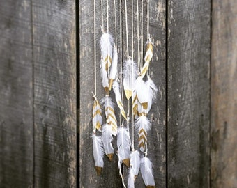 Gold Dipped Feather Wall Hanging
