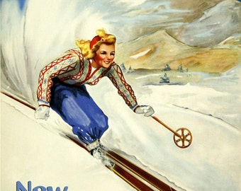 Ski New Hampshire Skiing Winter Sport Mountains Blond Girl Lady Race American U S A Vintage Poster Repro Free S/H in USA