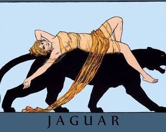 Animal Jaguar Beautiful Blond Lady on a Black Cat Vintage Poster Repro FREE SHIPPING in USA