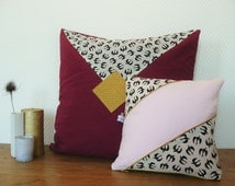 rectangular pillow cover gold and blue japonese fabric 30x40 cm