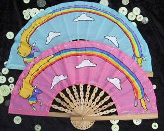 Lady Rainicorn - Adventure Time - Cartoon Network - large hand painted hand folding fan