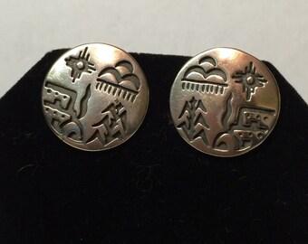 Southwestern outdoor landscape sterling silver pierced earrings.