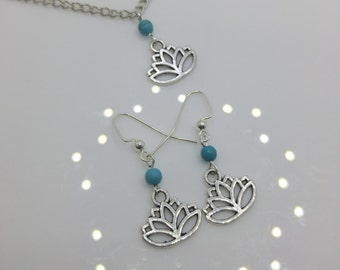 Silver Lotus & Turquoise Jewelry Set