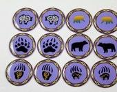 "Powder Blue Bears- 1"" Round Epoxy Cab - 6 pairs"