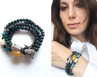 Handmade beaded gemstone bracelet, stretch bracelet, charm bracelet, boho bracelet