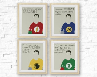 BOGO FREE! The Big Bang Theory Cross Stitch Pattern, Set of 4 Quotes, Sheldon Coopery, TV-Movie, Needlework pdf Instant Download #042-4