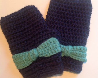 Fingerless Mittens with Bow Detail