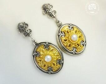 byzantine pearl silver golden earrings, pearl earrings, byzantine earrings, antique earrings, oriental earrings, greek earrings, byzantine