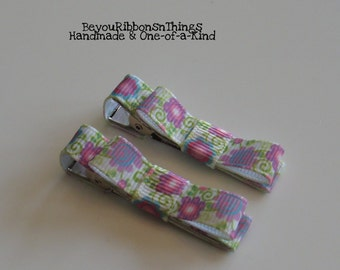 Flowers Hair Clips for Girls Toddler Barrette Kids Hair Accessories Grosgrain Ribbon No Slip Grip