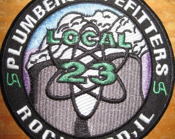 UNION PLUMBERS & PIPEFITTERS Rockford Illinoi Local 23 patch nuclear atomic Power Plant ua Steamfitters