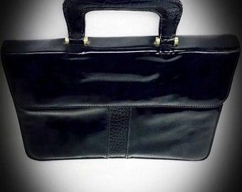 vintage Almondo black patent leather briefcase style handbag 1970s purse