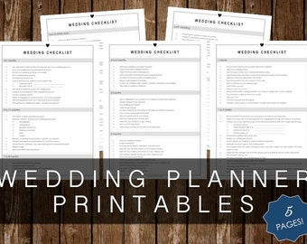 WEDDING CHECKLIST PRINTABLES - 5 Page Kit - Instant Download!