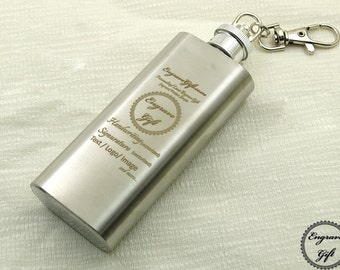 Custom Personalized 2oz Pocket Steel Flask Wedding Favor , Your Handwriting, Text, Logo