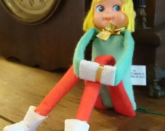Knee Grabber Elf/ Christmas Tree Elf/ Made in Japan/ Rice-Bayersdorfer Philadelphia PA/ Christmas Mid century/ band elf