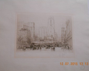 William Walcot, 42nd Street New York, 1923, Etching, signed in pencil.......