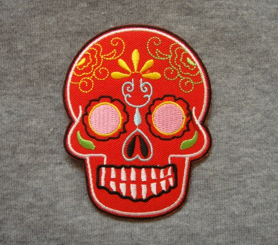 Red Sugar Skull Ghost Halloween Applique Embroidered Iron ...