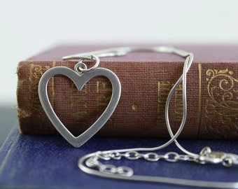 Heart necklace sterling silver vintage pendant and snake chain necklace 925