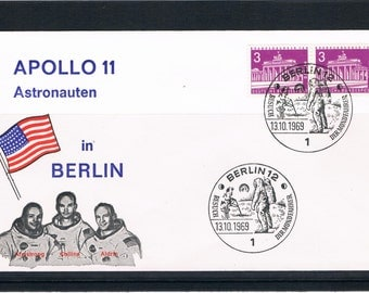 APOLLO 11 Astronauts World Tour Berlin Germany 1969, moon landing cover, Brandenburg Gate stamps, Armstrong Buzz Aldrin Collins Astronaughts