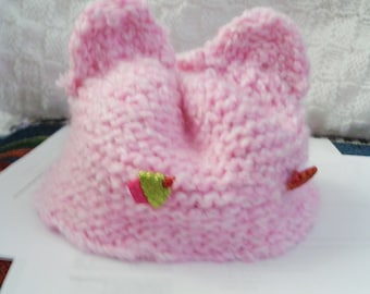 Baby hat with cat ears- pink