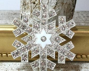 Snowflake Charm - Snowflake Pendant - Snowflake Jewelry - Christmas Charm - Bubblegum Beads - Christmas Pendant - Christmas Jewelry