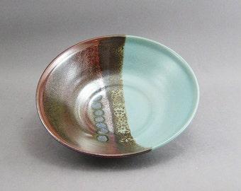Pottery Medium Bowl Tenmoku & Green FF08