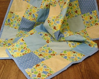 Patchwork Baby Quilt - Baby Animals Blue & Cream