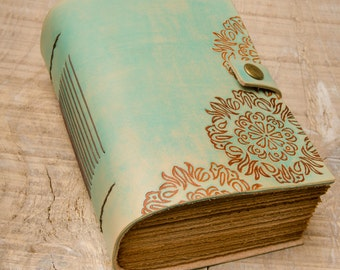 Turquoise Leather Journal, Handbound Journal, Leather Notebook, Diary, Travel Journal