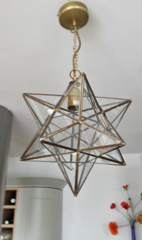glass pendant light fixture antique brass star lantern. Black Bedroom Furniture Sets. Home Design Ideas