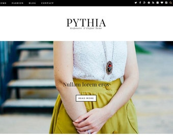 SALE ! Pythia - A Simple Fashion Blogger Template - Blogspot Theme - Blogger Fashion Template - Personal Blog Premade Blogger Templates