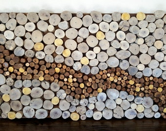 Wood Slice Wall Art - Reclaimed Wood Wall Art - Abstract Wall Art - Natural Wall Art - Unique Gift Idea - Hospitality Art - Hotel Art
