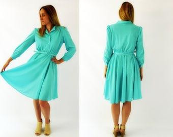 SALE**  Turquoise 70's Day Dress Medium