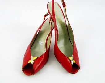 80's Red Bruno Magli Leather Slingback Heels 9 1/2