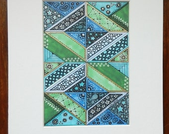 Geometric print in Greens and Blues, 5x7 matted to 8x10
