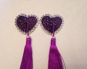 Swarovski burlesque pasties - Purple Hearts