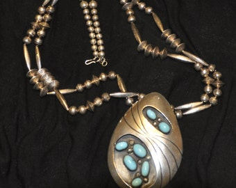 Sterling Silver Turquoise Native American Necklace