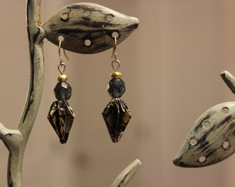 Black and Gold Origami Earrings