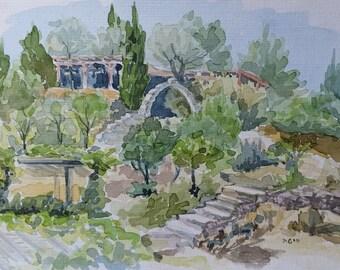 Biblical Garden, Fine Art Painting, Original Watercolor Painting, Landscape Painting, Small Paintings, Rock painting, Green