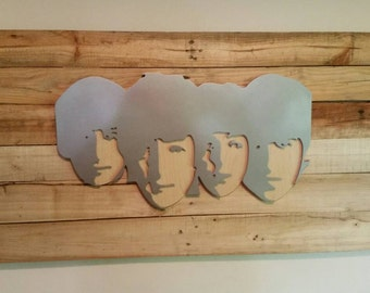 The Beatles Band Sign Man Cave Art  MDF Board Cut Out Logo With Faux Metal Finish On Rustic Pallet Wood