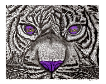 LSU fan tiger purple gold college football art print wall home decoration gift