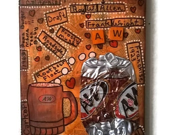 Soda Can Art, Pop Can Art, A and W Rootbeer Canvas Art, A and W History, 8x10 Canvas Art, CA#105