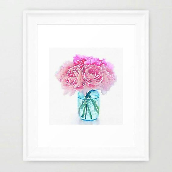 nursery office decor pink peonies in blue mason watercolor print 8x10