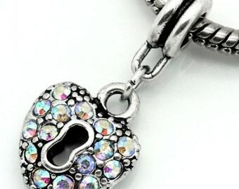1 European Style Dangling Slide Charm AB Rhinestones Heart Shaped Lock for European Bracelets -5J