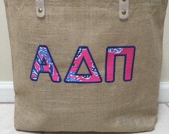 Greek Letter Lilly Pulitzer Jute Bag