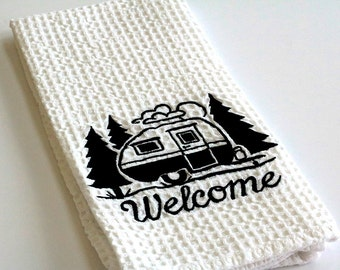 Happy Camper kitchen towel gift for 10 dollars kitchen decor camping